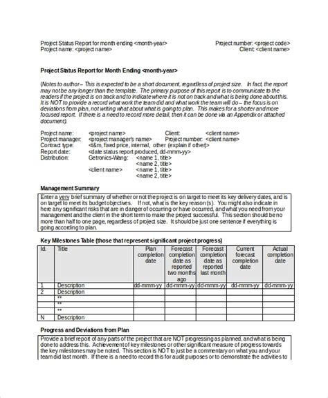printable project status report templates google docs