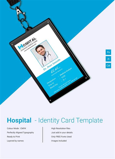 amazing hospital identity card template