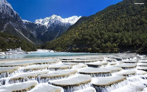 mountains water cascade wallpapers mountains water