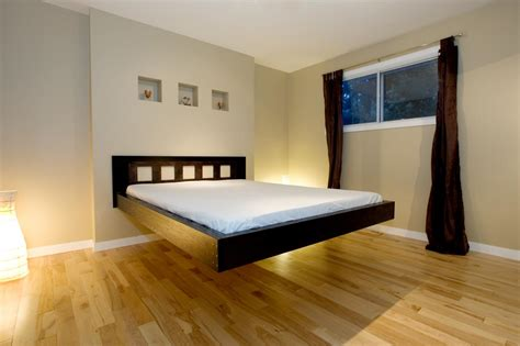 cool bed ideas modern bedroom design ideas with cool black wood floating bed frame using white bed linen also
