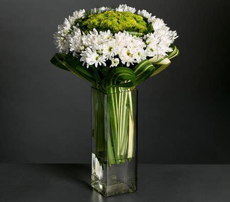 Poms and Chrysanthemums Snow White Vase Arrangement
