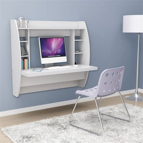 wall mounted desk white floating desk with storage