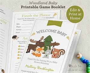 Woodland baby shower games booklet printable by belledustudios for Baby shower game booklet template