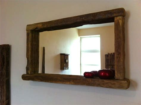 Wood Bathroom Mirrors by Reclaimed Wood Rustic Farmhouse Mirror With Candle Shelf