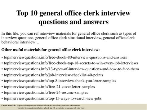top  general office clerk interview questions  answers