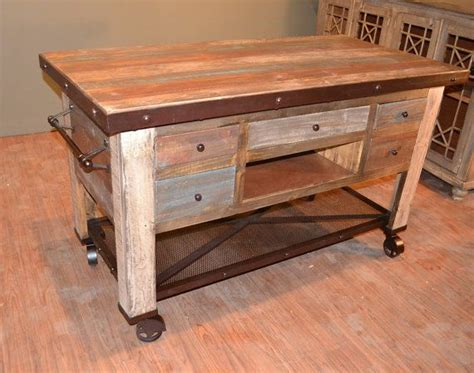 rustic solid reclaimed wood kitchen island  bottom