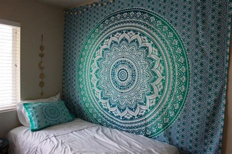 hippie trippy turquoise teal ombre mandala tapestry