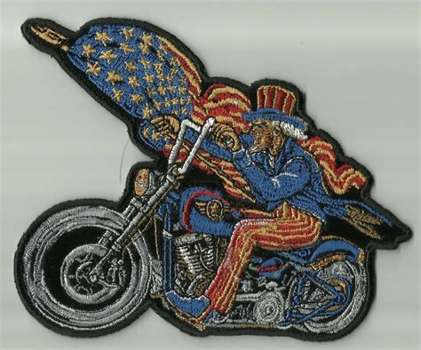 Uncle Sam Biker Holding Usa Flag Motorcycle Jacket Vest