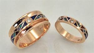 14KT Rose Gold Matching Wedding Bands With Diamonds And Inlay
