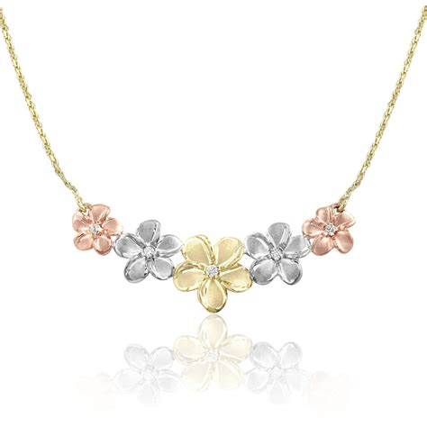 tri gold  plumeria diamond necklace rope chain