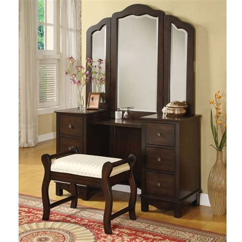 Vanity Table With Mirror And Drawers by Annapolis 3 Pcs Makeup Vanity Set Tri Folding Mirror Bench