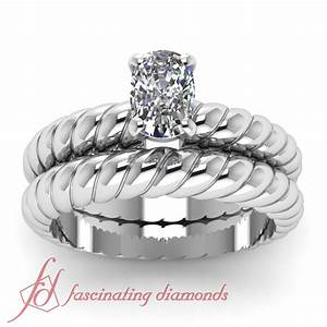 solitaire spiral design wedding rings set 1 2 ct cushion With spiral wedding ring