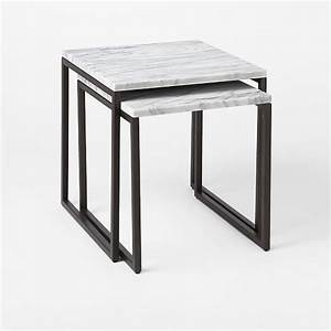 box frame nesting tables marble antique bronze west elm With box frame coffee table marble top