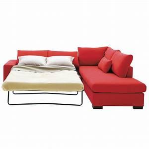 canape d39angle a droite convertible vittorio 2 rouge With tapis rouge avec canapé convertible avec accoudoir