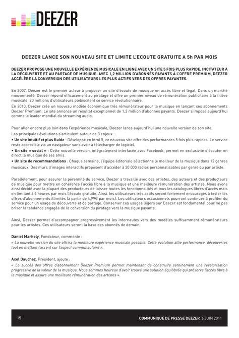 deezer bureau le dossier de presse deezer juillet2011