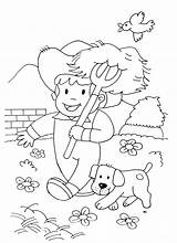 Coloring Farm Farmer Animals Kid Dog Pages Simple Horses Children Drawing Animal Theme Little Print Horse Adult Justcolor sketch template