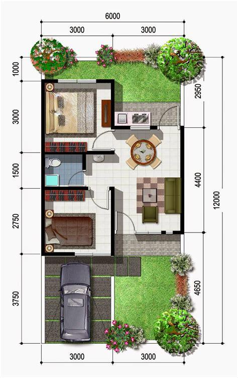 denah rumah minimalis halaman luas gambar desain