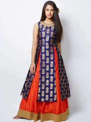 buy  designer blue jacquard orange indo western style