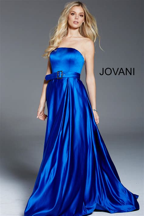 jovani  strapless satin evening dress french novelty