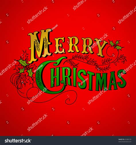 vintage christmas card merry christmas lettering stock