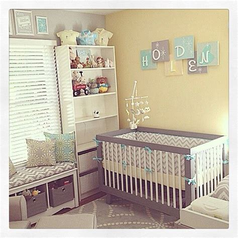 Yellow Grey Nursery; Storage Under Tall Window  Baby, Oh