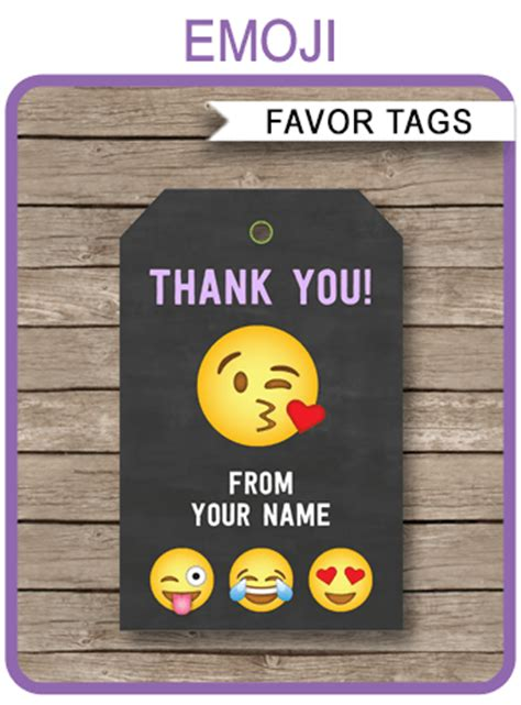 emoji party favor tags template emoji theme   tags