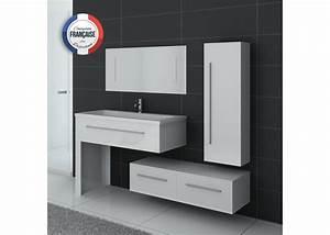 Meuble Simple Vasque : ensemble de meublede salle de bain 1 vasque meuble de salle de bain blanc dis9251b distribain ~ Teatrodelosmanantiales.com Idées de Décoration