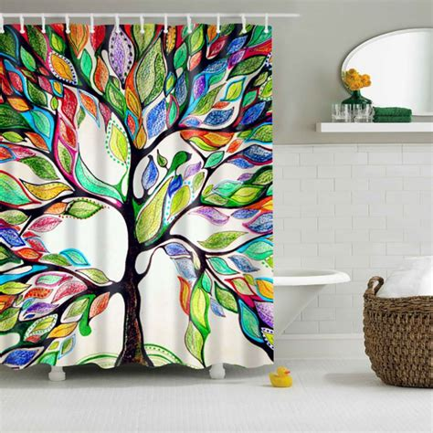 colorful shower curtains vogue colorful tree pattern waterproof bathroom shower