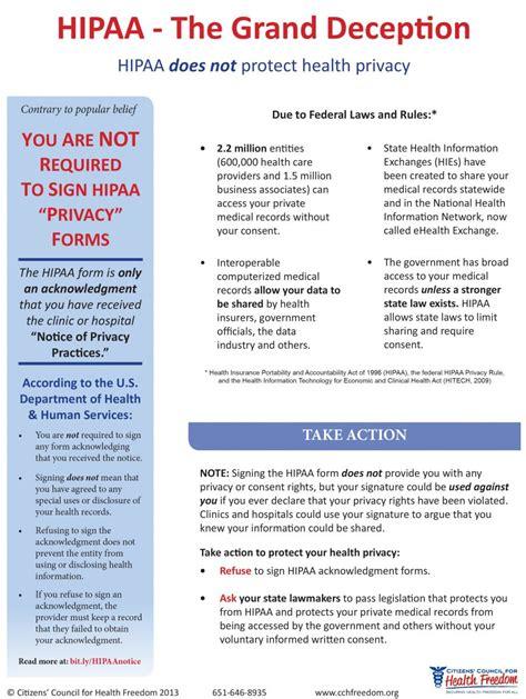hipaa action alert refuse  sign citizens council
