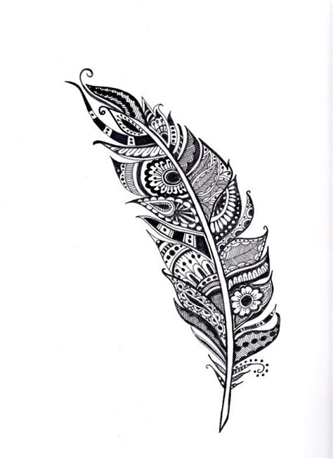 henna feather illustration feather art coloring page