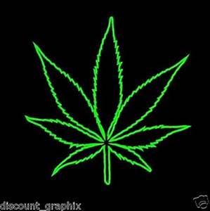 POT LEAF *OUTLINE* DECAL WALL ART MARIJUANA WEED CANNABIS ...