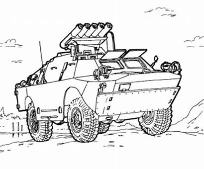 Army Coloring Truck Military Pages Vehicles Drawing