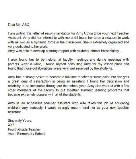 recommendation letter  teacher assistant
