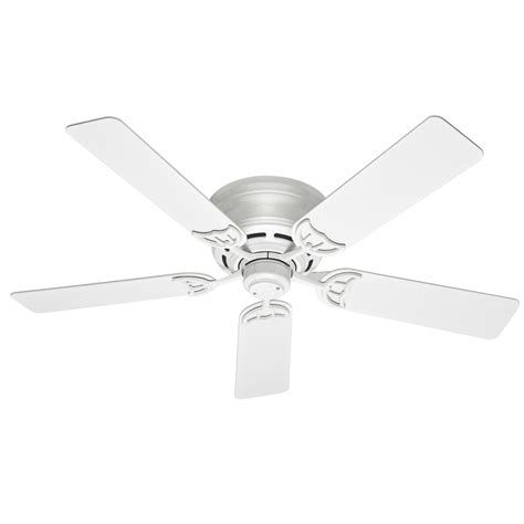 low profile white ceiling fan shop hunter low profile iii 52 in white indoor flush mount