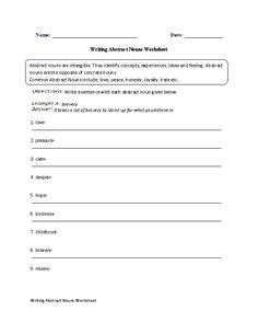 concrete and abstract nouns worksheet lesson planet worksheets for readig language arts