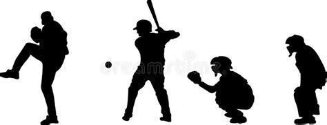 baseball silhouettes stock vector illustration