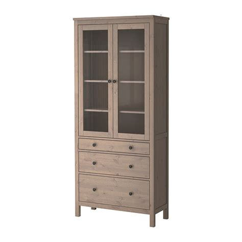 Ikea Hemnes Armoire Dimensions by Hemnes Glass Door Cabinet With 3 Drawers Grey Brown Ikea