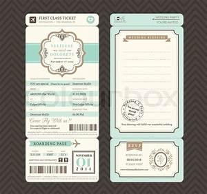 vintage style boarding pass ticket wedding invitation With flight ticket wedding invitation template