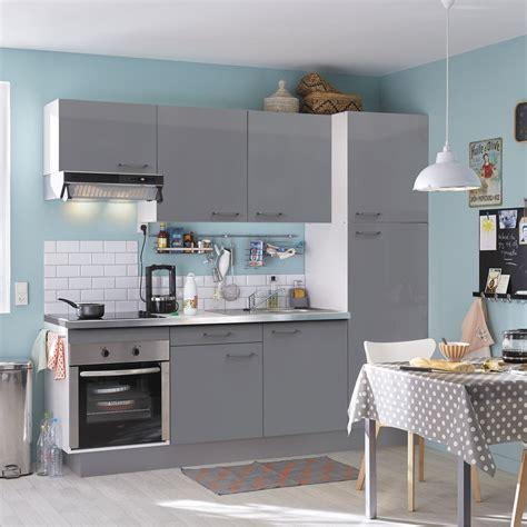 cuisine 233 quip 233 e gris brillant l 240 cm 233 lectrom 233 nager inclus leroy merlin