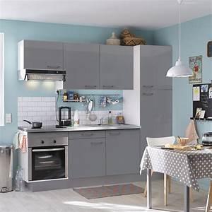 Cuisine equipee gris brillant l240 cm electromenager for Idee deco cuisine avec cuisine tout Équipée avec Électroménager