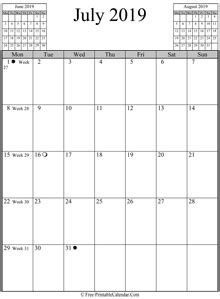july calendar horizontal layout