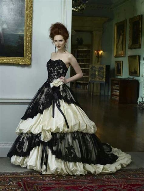 black and white goth wedding gown fashion gothic