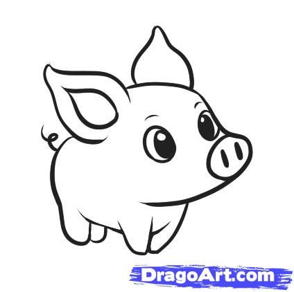 draw  simple pig step  step farm animals