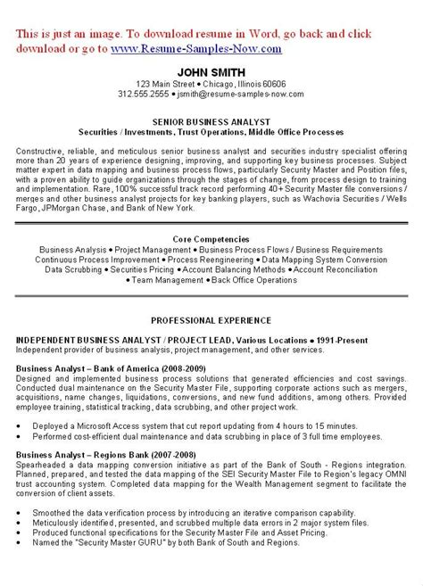 business analyst resume examples objectives