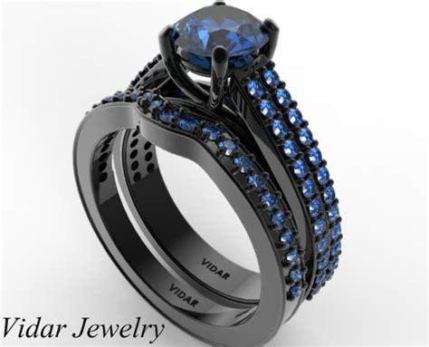 Women's Blue Sapphire Wedding Ring Set In Black Gold