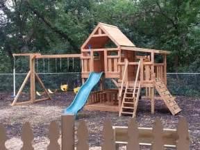 Wooden Fort Swing Set