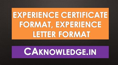 experience certificate format experience letter format