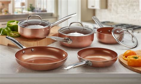 ceramic copper pan cookware professional cooks sets deal saucepan frying groupon piece five three