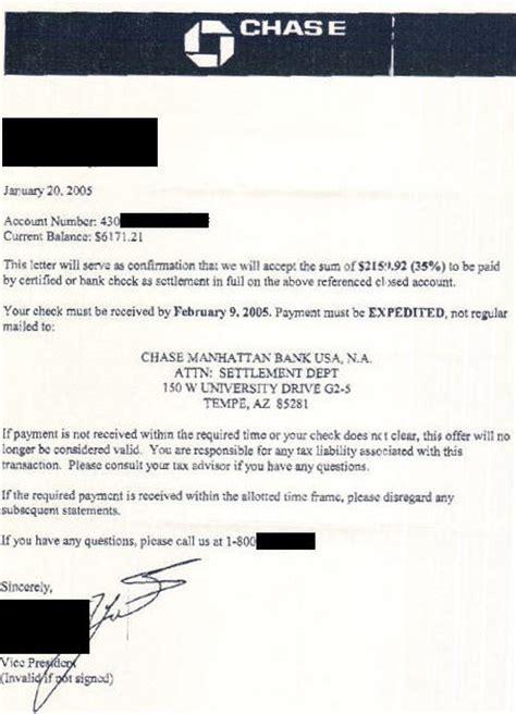chase settlement letter leave debt