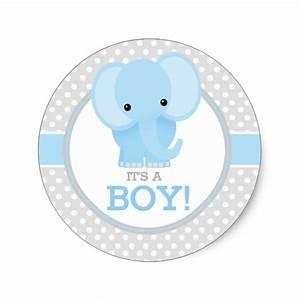 Baby Elephant (blue) It's a Boy Classic Round Sticker Zazzle